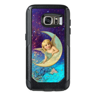 MOON ANGEL IN BLUE GOLD SPARKLES Monogram OtterBox Samsung Galaxy S7 Case