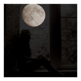 Moon at the window poster