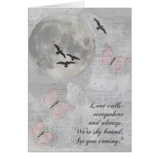 Moon Birds Love Calls Rumi Card
