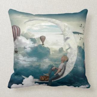 Moon Boy Air Balloons Fantasy Art Throw Pillow