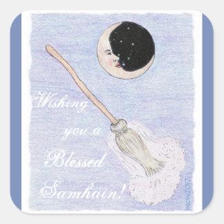 Moon & Broom Spirited Samhain Square Sticker
