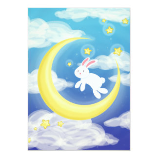 Moon Bunny Blue 13 Cm X 18 Cm Invitation Card