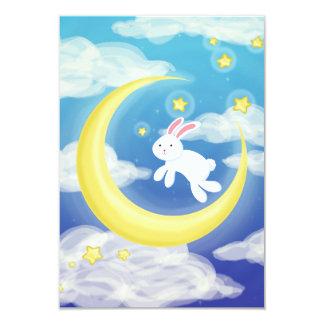 Moon Bunny Blue 9 Cm X 13 Cm Invitation Card