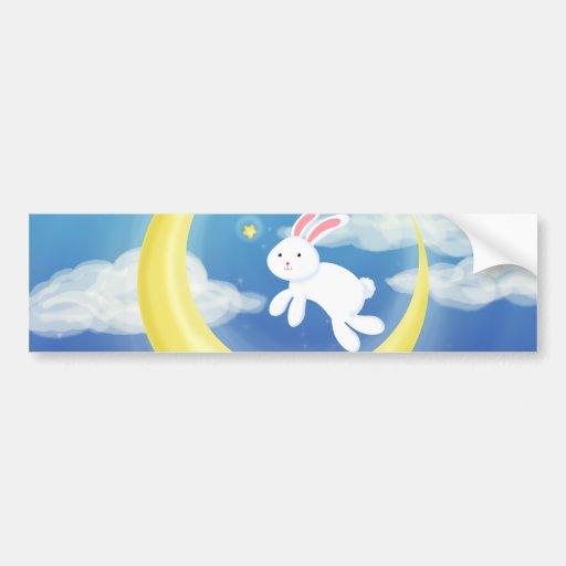 Moon Bunny Blue Bumper Stickers