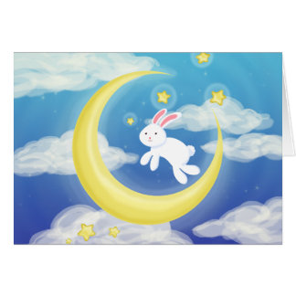 Moon Bunny Blue Greeting Card