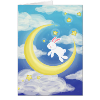 Moon Bunny Blue Greeting Card