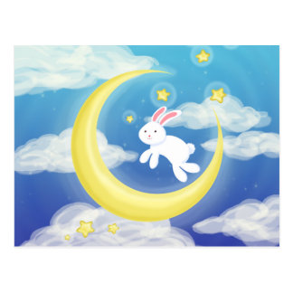 Moon Bunny Blue Postcard