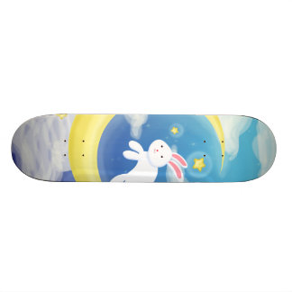 Moon Bunny Blue Skateboard Decks