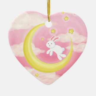 Moon Bunny Pink Ceramic Ornament