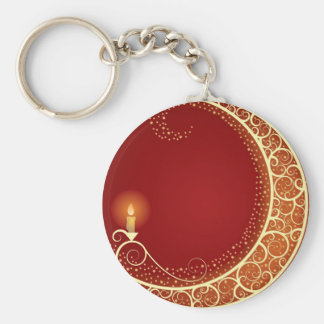 Moon Candle Basic Round Button Key Ring