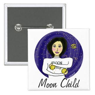 Moon Child Square Pinback Button