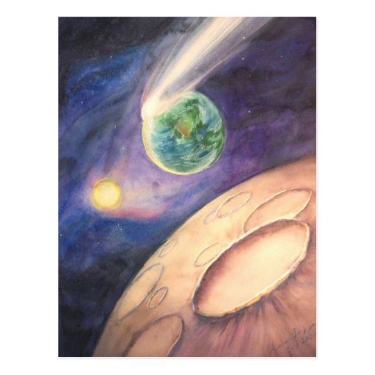 Moon, Comet, Earth, Sun Postcard