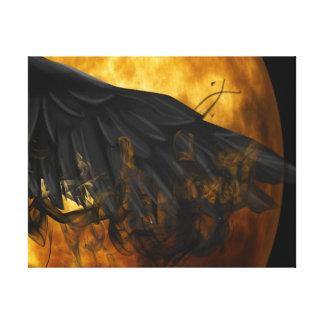 moon crow canvas print