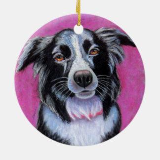 Moon Dog, Border Collie Ceramic Ornament