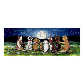 Moon Dog Night Scene Poster Dalmation Spaniel