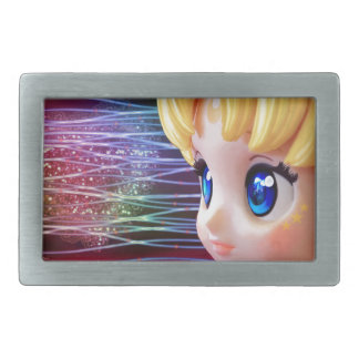 Moon Doll Rectangular Belt Buckle