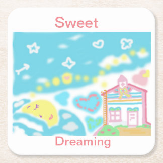Moon Dreaming Square Paper Coaster