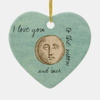 Moon Face Ceramic Heart Decoration