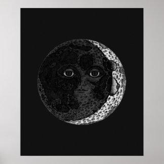 Moon Face Illustration Poster