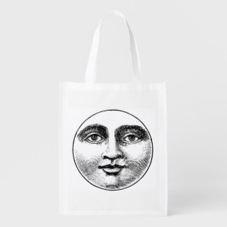 MOON FACE REUSABLE GROCERY BAG