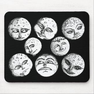 Moon Faces Mousepad - Black
