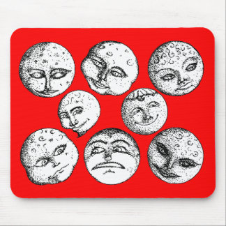 Moon Faces Mousepad - Red
