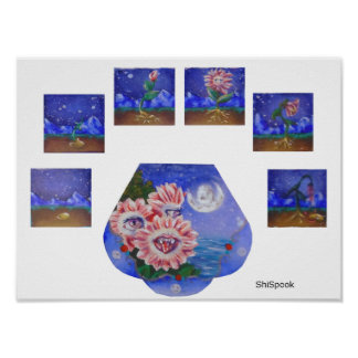 Moon Flowers Poster