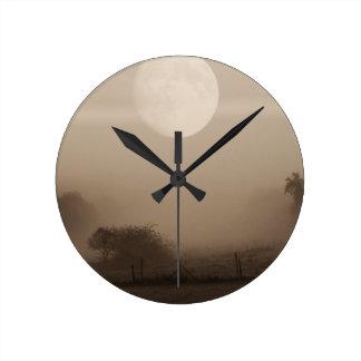 moon fog round clock
