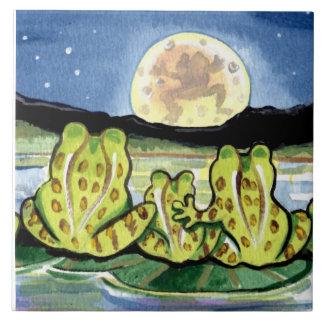"""Moon Frogs Family Night  Pond 6"""" Tile Trivet"""