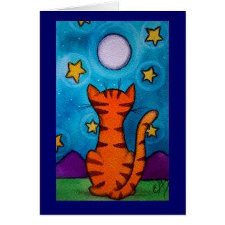 Moon Gazing Cat Card