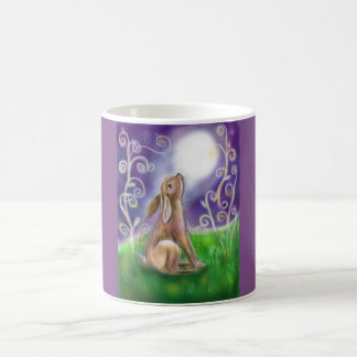 Moon gazing hare illustration coffee mug