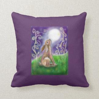 Moon gazing hare illustration purple background cushion