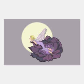 Moon Gazing Purple Flower Fairy Evening Sky Rectangular Sticker