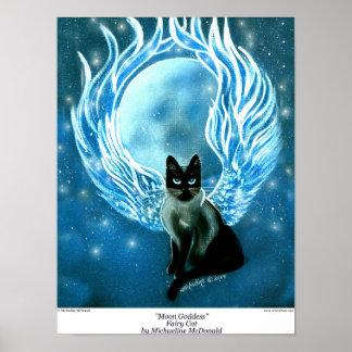Moon Goddess Fairy Cat Poster
