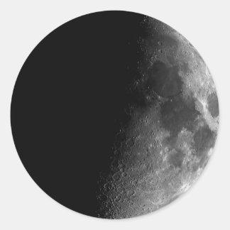 Moon, Half Moon Round Sticker