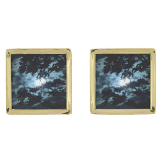 Moon Illuminates the Night behind Tree Branches Gold Finish Cuff Links