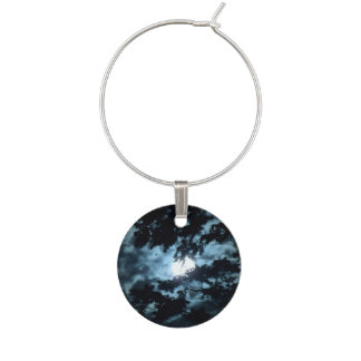 Moon Illuminates the Night behind Tree Branches Wine Charm