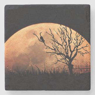 Moon illustration stone coaster
