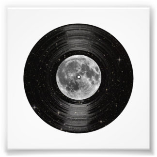 Moon In Space Vinyl LP Record Photo Print