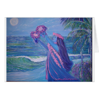 moon light lady hula card