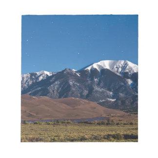 Moon Lit Colorado Great Sand Dunes Starry Night Notepad