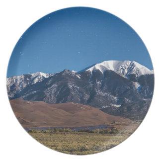 Moon Lit Colorado Great Sand Dunes Starry Night Plate