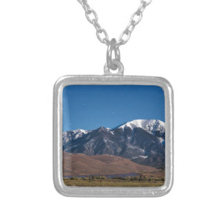 Moon Lit Colorado Great Sand Dunes Starry Night Silver Plated Necklace