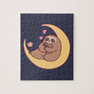 Moon Mama Sloth and Babies Jigsaw Puzzle