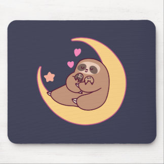 Moon Mama Sloth and Babies Mouse Pad