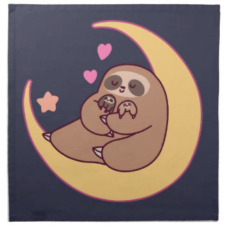 Moon Mama Sloth and Babies Napkin