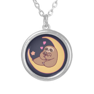 Moon Mama Sloth and Babies Silver Plated Necklace