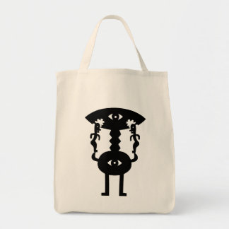 Moon Monster From The Moon And Two Friends Grocery Tote Bag