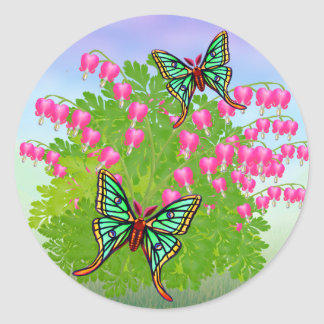 Moon Moths on Bleeding Heart Flowers Sticker