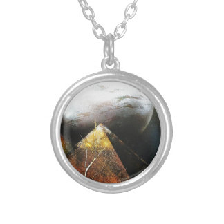 MOON ON PYRAMID .1.JPG SILVER PLATED NECKLACE